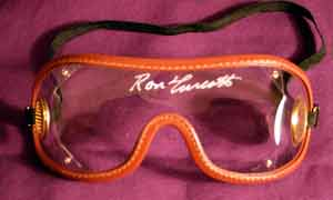 Authentic racing goggles signed by SECRETARIAT'S jockey RON TURCOTTE.